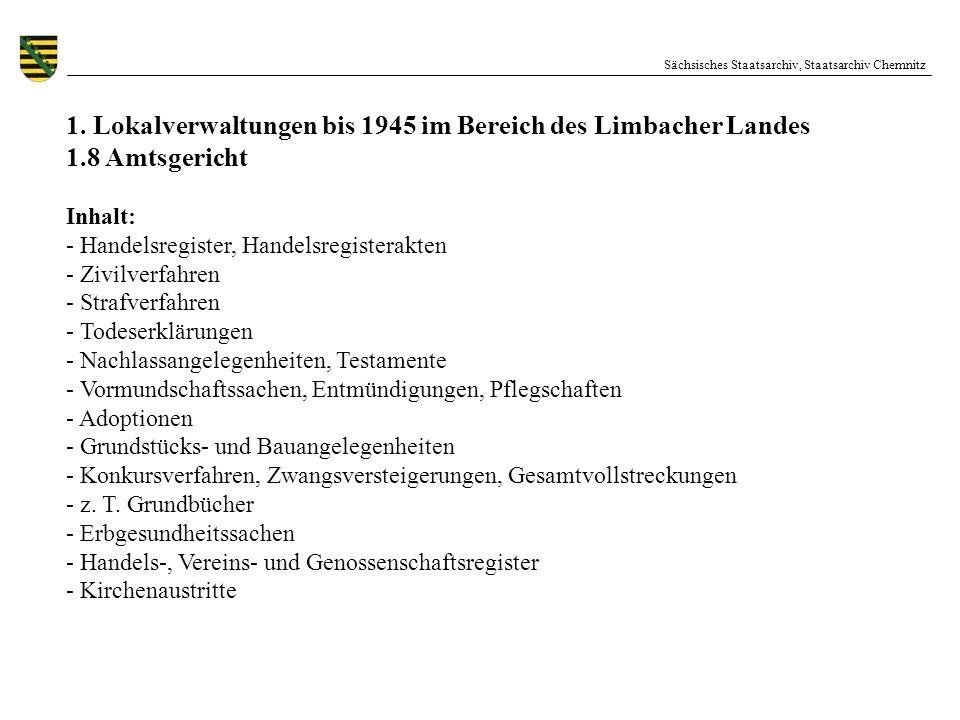 Sächsisches Staatsarchiv, Staatsarchiv Chemnitz 1. Lokalverwaltungen bis 1945 im Bereich des Limbacher Landes 1.8 Amtsgericht Inhalt: - Handelsregiste