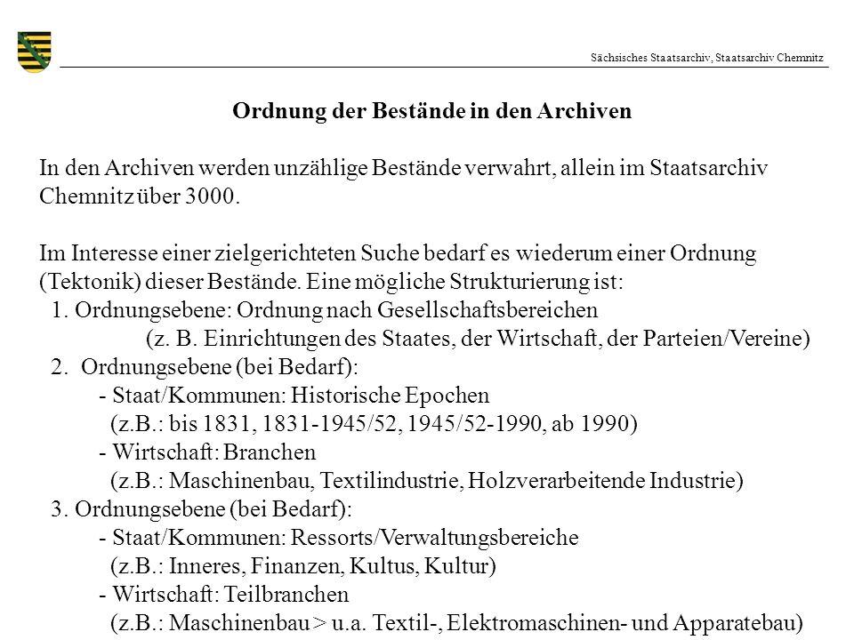 Sächsisches Staatsarchiv, Staatsarchiv Chemnitz Ordnung der Bestände in den Archiven In den Archiven werden unzählige Bestände verwahrt, allein im Sta
