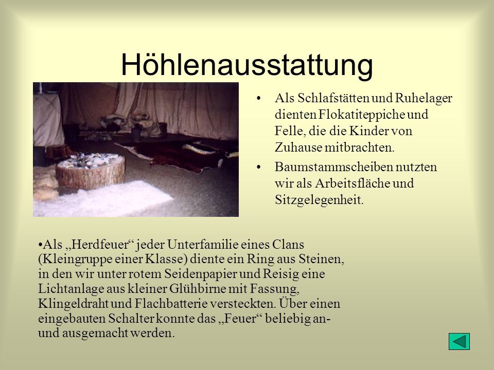Höhlenausstattung Als Schlafstätten und Ruhelager dienten Flokatiteppiche und Felle, die die Kinder von Zuhause mitbrachten.