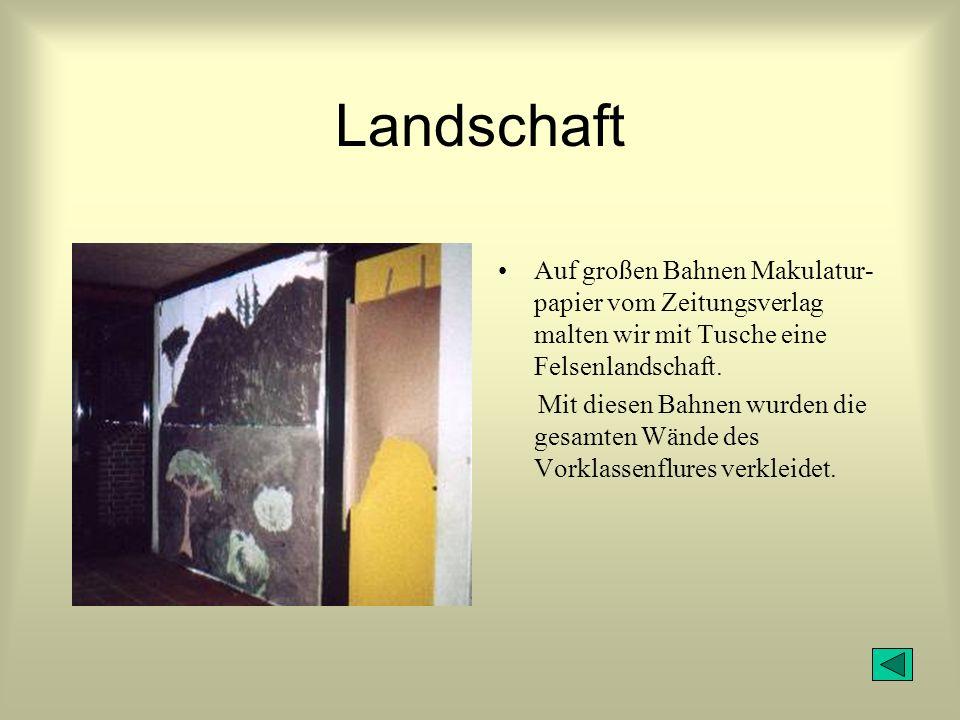 Landschaft Auf großen Bahnen Makulatur- papier vom Zeitungsverlag malten wir mit Tusche eine Felsenlandschaft.