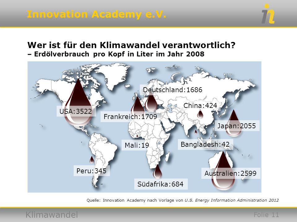 Innovation Academy e.V. Klimawandel USA:3522 Peru:345 Mali:19 Bangladesh:42 Australien:2599 Japan:2055 Südafrika:684 China:424 Deutschland:1686 Frankr