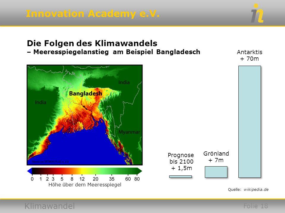 Innovation Academy e.V. Klimawandel Die Folgen des Klimawandels – Meeresspiegelanstieg am Beispiel Bangladesch Höhe über dem Meeresspiegel Grönland +