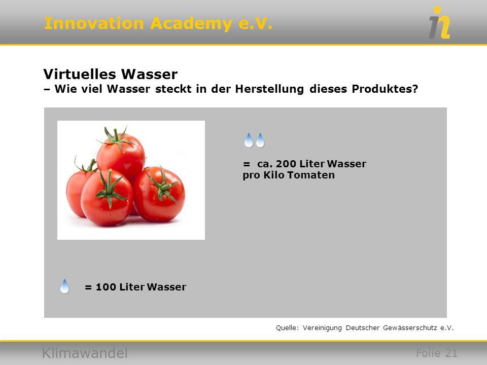Innovation Academy e.V. Klimawandel Virtuelles Wasser – Wie viel Wasser steckt in der Herstellung dieses Produktes? = ca. 200 Liter Wasser pro Kilo To