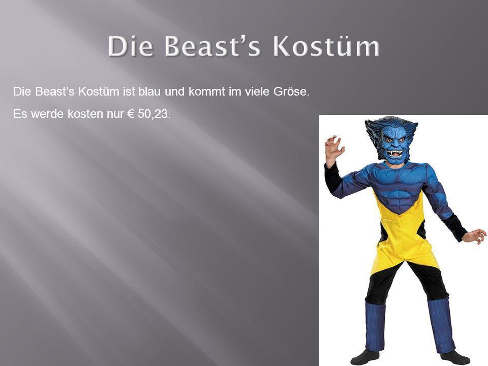 Die Beasts Kostüm ist blau und kommt im viele Gröse. Es werde kosten nur 50,23.