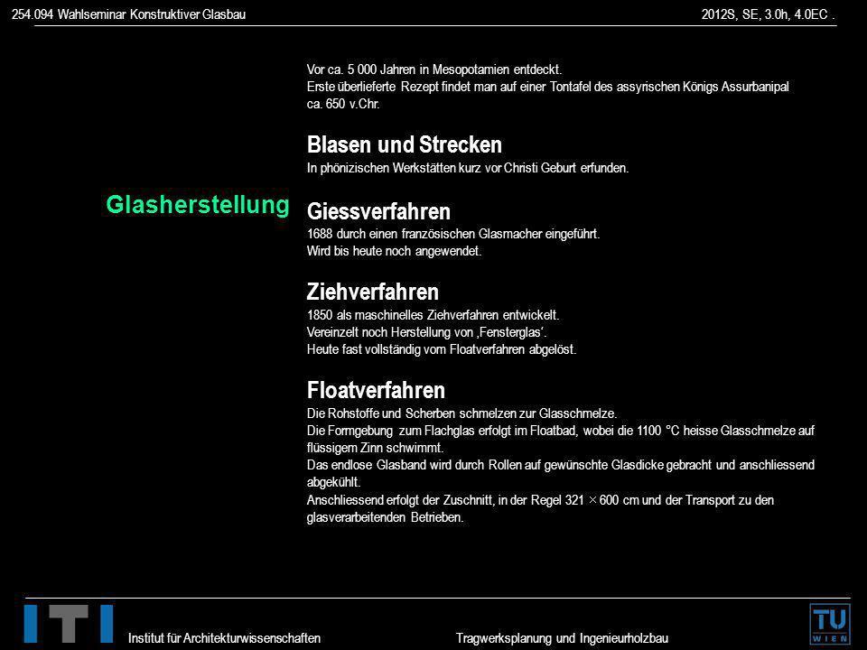 254.094 Wahlseminar Konstruktiver Glasbau 2012S, SE, 3.0h, 4.0EC. Institut für Architekturwissenschaften Tragwerksplanung und Ingenieurholzbau Floatve