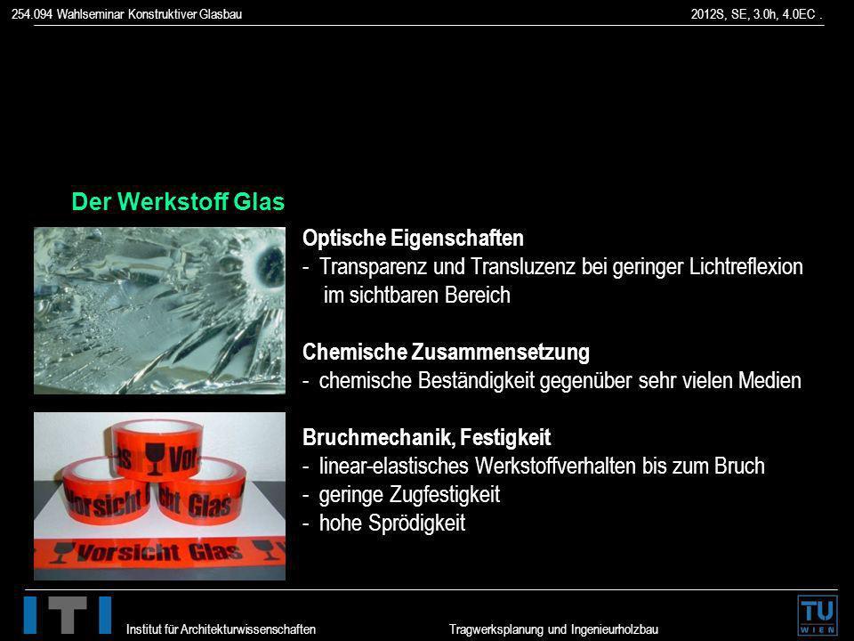 254.094 Wahlseminar Konstruktiver Glasbau 2012S, SE, 3.0h, 4.0EC. Institut für Architekturwissenschaften Tragwerksplanung und Ingenieurholzbau Der Wer