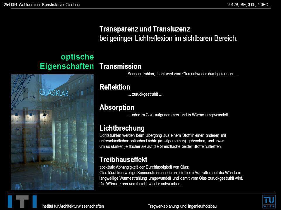 254.094 Wahlseminar Konstruktiver Glasbau 2012S, SE, 3.0h, 4.0EC. Institut für Architekturwissenschaften Tragwerksplanung und Ingenieurholzbau Transpa