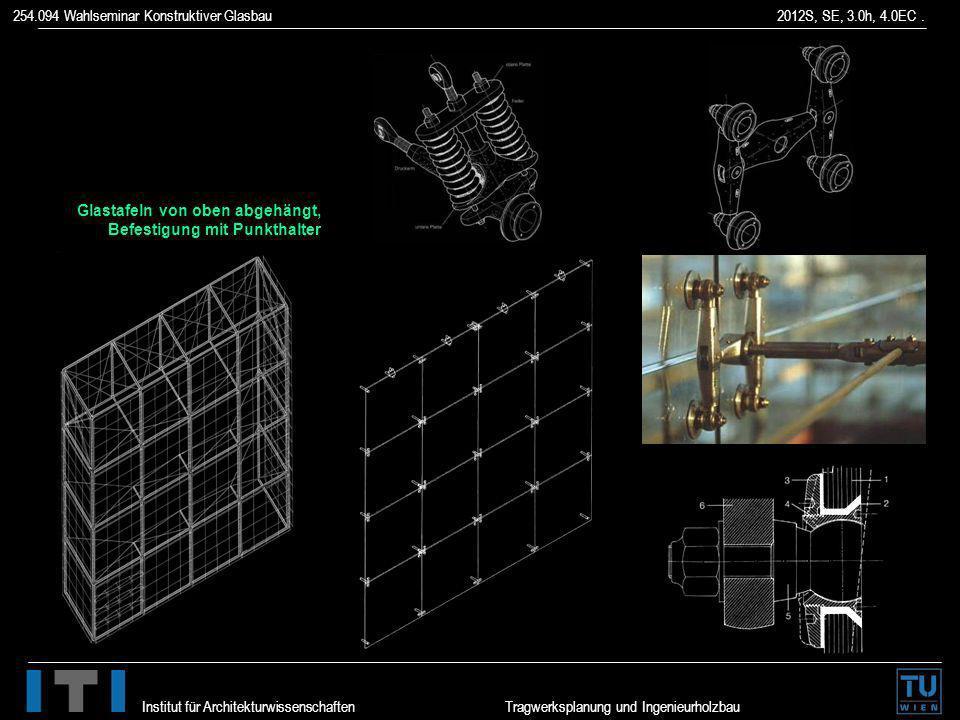 254.094 Wahlseminar Konstruktiver Glasbau 2012S, SE, 3.0h, 4.0EC. Institut für Architekturwissenschaften Tragwerksplanung und Ingenieurholzbau Glastaf