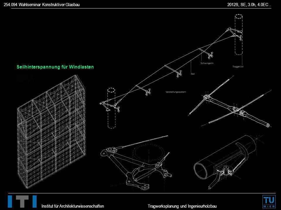 254.094 Wahlseminar Konstruktiver Glasbau 2012S, SE, 3.0h, 4.0EC. Institut für Architekturwissenschaften Tragwerksplanung und Ingenieurholzbau Seilhin