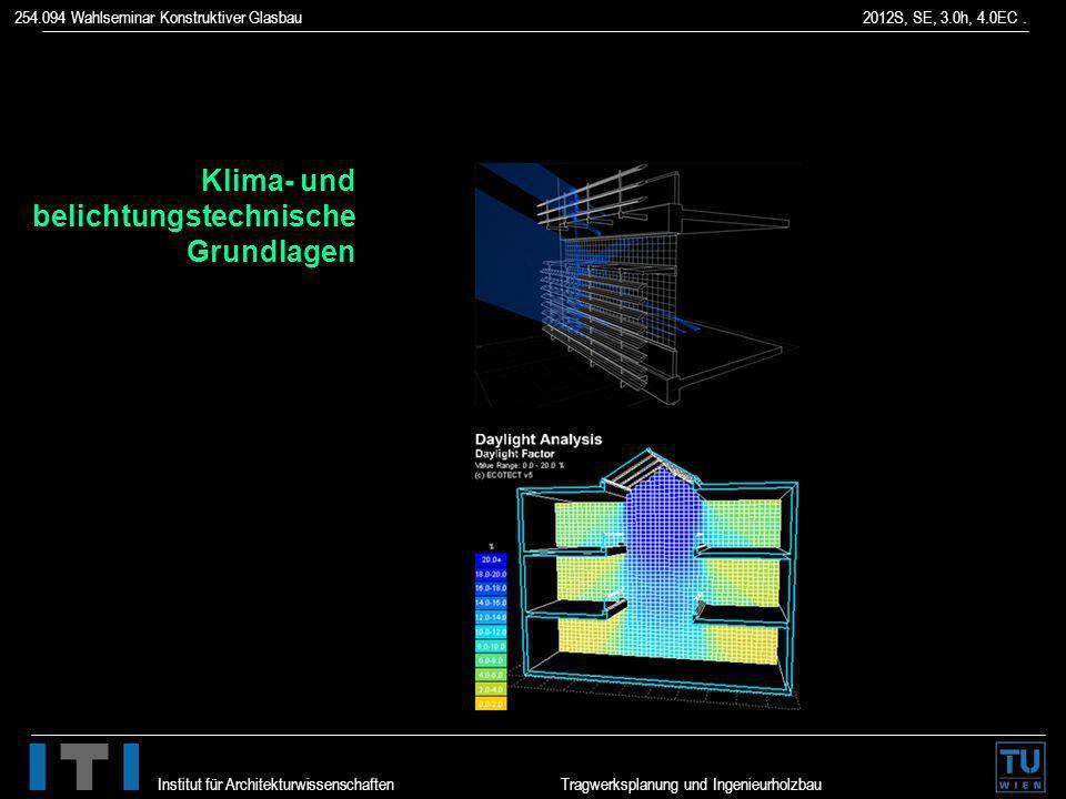 254.094 Wahlseminar Konstruktiver Glasbau 2012S, SE, 3.0h, 4.0EC. Institut für Architekturwissenschaften Tragwerksplanung und Ingenieurholzbau Klima-