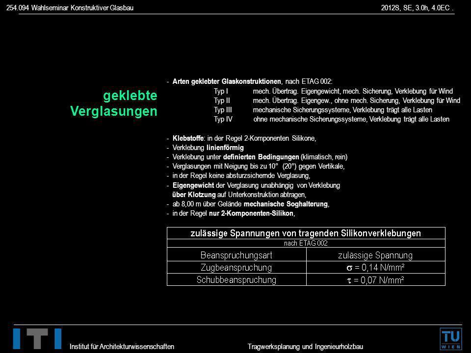 254.094 Wahlseminar Konstruktiver Glasbau 2012S, SE, 3.0h, 4.0EC. Institut für Architekturwissenschaften Tragwerksplanung und Ingenieurholzbau - Arten