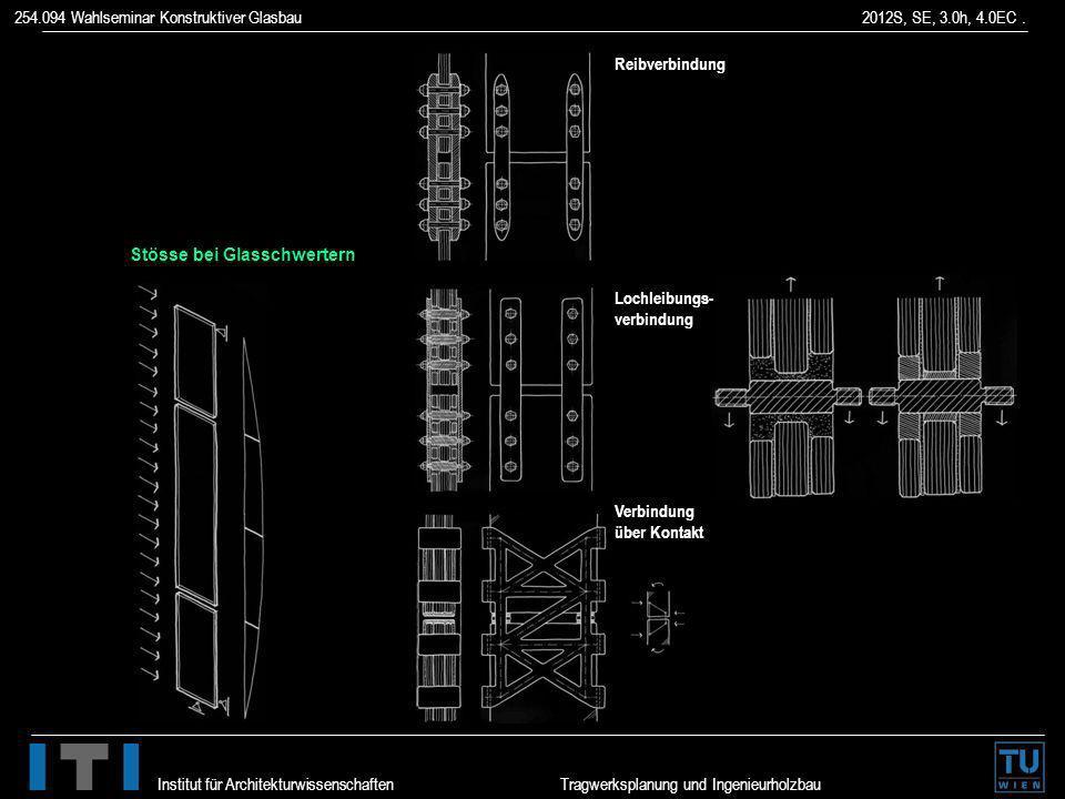 254.094 Wahlseminar Konstruktiver Glasbau 2012S, SE, 3.0h, 4.0EC. Institut für Architekturwissenschaften Tragwerksplanung und Ingenieurholzbau Stösse