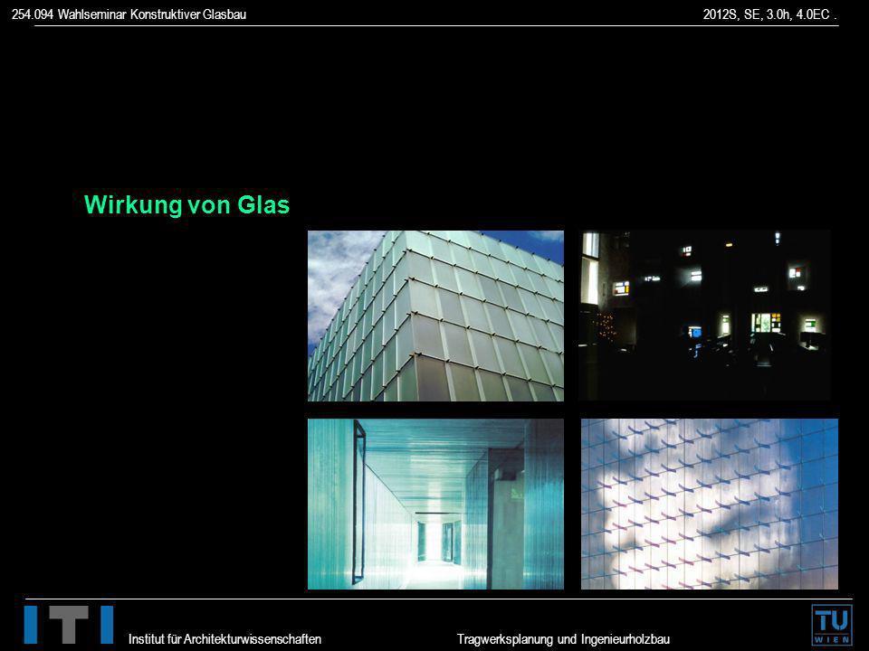 254.094 Wahlseminar Konstruktiver Glasbau 2012S, SE, 3.0h, 4.0EC. Institut für Architekturwissenschaften Tragwerksplanung und Ingenieurholzbau Wirkung