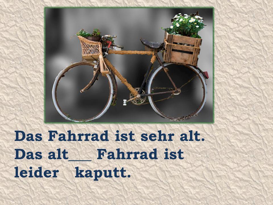 Das Fahrrad ist sehr alt. Das alt___ Fahrrad ist leider kaputt.