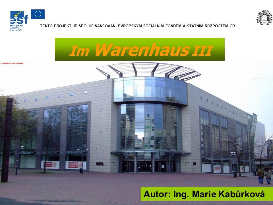 Im Warenhaus III Autor: Ing. Marie Kabůrková TENTO PROJEKT JE SPOLUFINANCOVÁN EVROPSKÝM SOCIÁLNÍM FONDEM A STÁTNÍM ROZPOČTEM ČR