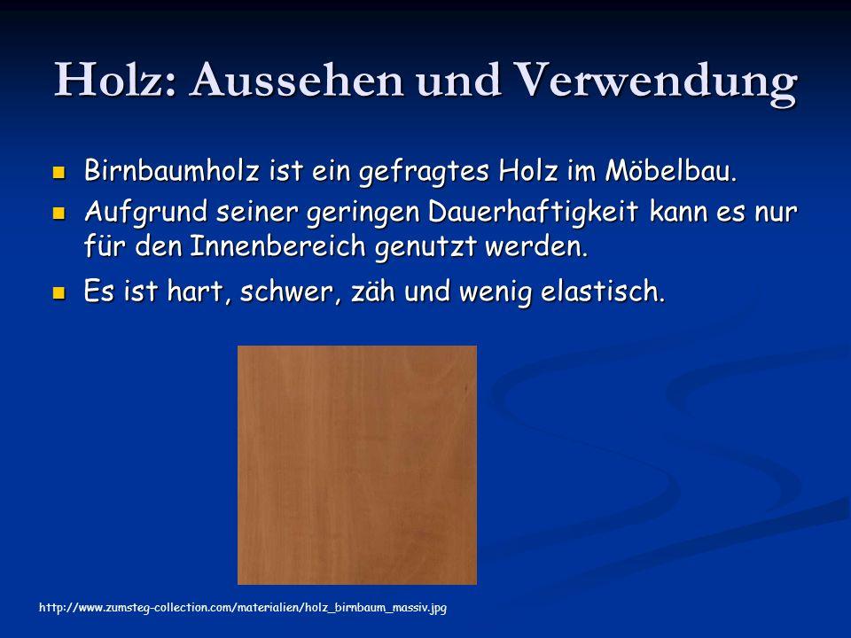 Holz: Aussehen und Verwendung Birnbaumholz ist ein gefragtes Holz im Möbelbau.