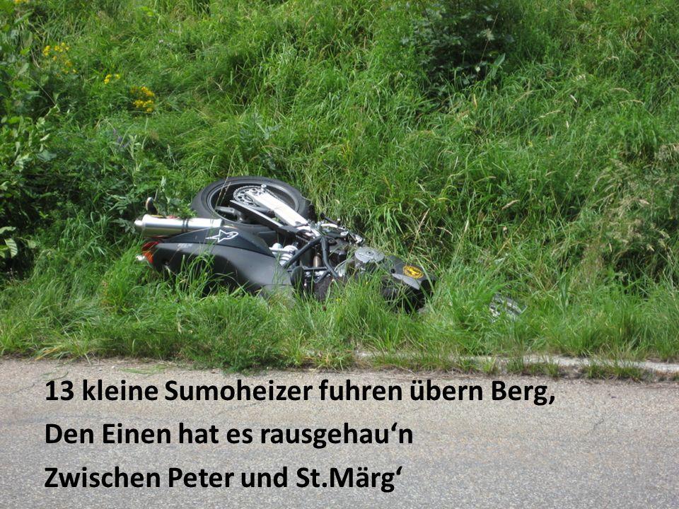 13 kleine Sumoheizer fuhren übern Berg, Den Einen hat es rausgehaun Zwischen Peter und St.Märg
