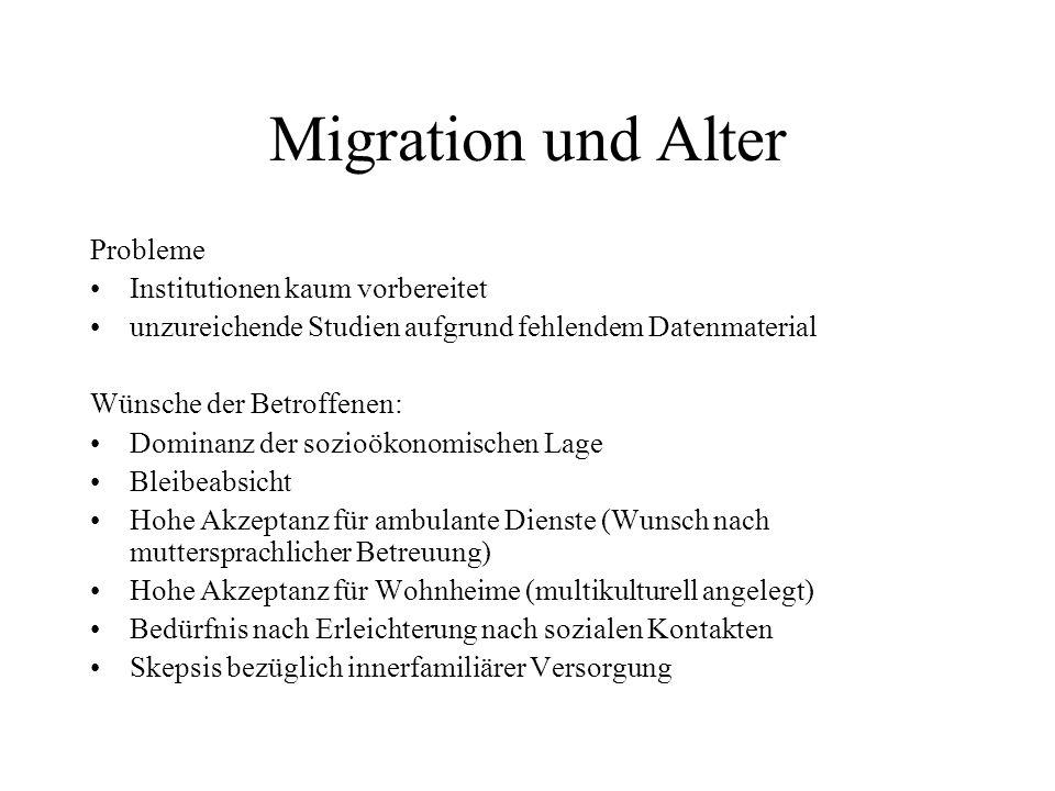 Migration und Alter Probleme Institutionen kaum vorbereitet unzureichende Studien aufgrund fehlendem Datenmaterial Wünsche der Betroffenen: Dominanz d