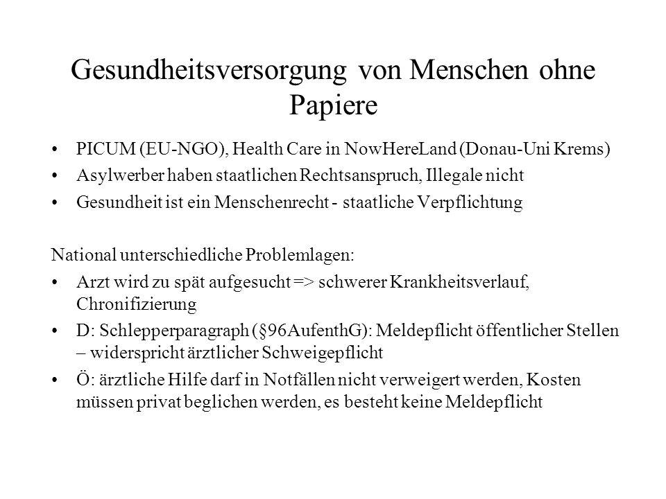 Gesundheitsversorgung von Menschen ohne Papiere PICUM (EU-NGO), Health Care in NowHereLand (Donau-Uni Krems) Asylwerber haben staatlichen Rechtsanspruch, Illegale nicht Gesundheit ist ein Menschenrecht - staatliche Verpflichtung National unterschiedliche Problemlagen: Arzt wird zu spät aufgesucht => schwerer Krankheitsverlauf, Chronifizierung D: Schlepperparagraph (§96AufenthG): Meldepflicht öffentlicher Stellen – widerspricht ärztlicher Schweigepflicht Ö: ärztliche Hilfe darf in Notfällen nicht verweigert werden, Kosten müssen privat beglichen werden, es besteht keine Meldepflicht