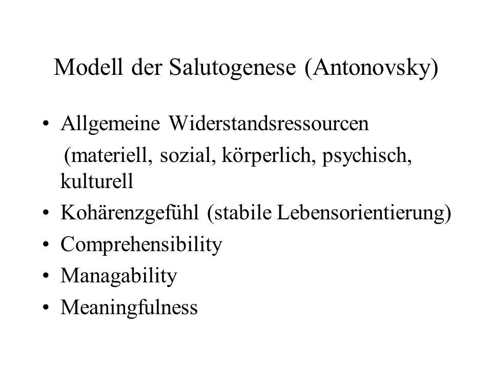 Modell der Salutogenese (Antonovsky) Allgemeine Widerstandsressourcen (materiell, sozial, körperlich, psychisch, kulturell Kohärenzgefühl (stabile Lebensorientierung) Comprehensibility Managability Meaningfulness