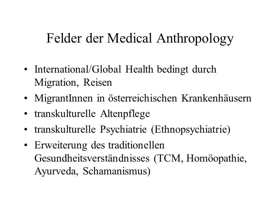 Felder der Medical Anthropology International/Global Health bedingt durch Migration, Reisen MigrantInnen in österreichischen Krankenhäusern transkulturelle Altenpflege transkulturelle Psychiatrie (Ethnopsychiatrie) Erweiterung des traditionellen Gesundheitsverständnisses (TCM, Homöopathie, Ayurveda, Schamanismus)