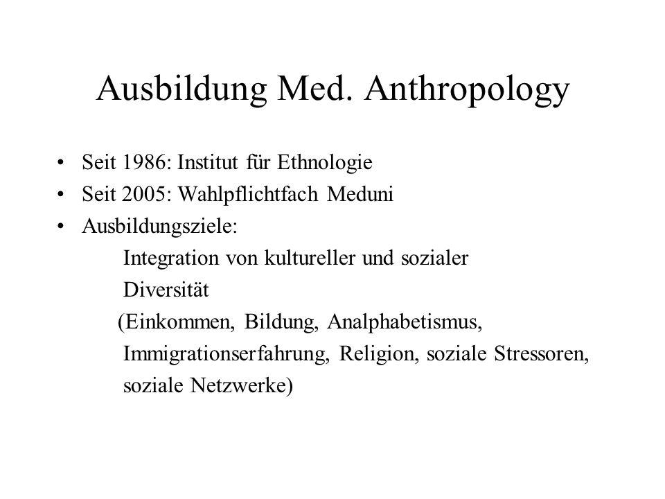 Ausbildung Med. Anthropology Seit 1986: Institut für Ethnologie Seit 2005: Wahlpflichtfach Meduni Ausbildungsziele: Integration von kultureller und so