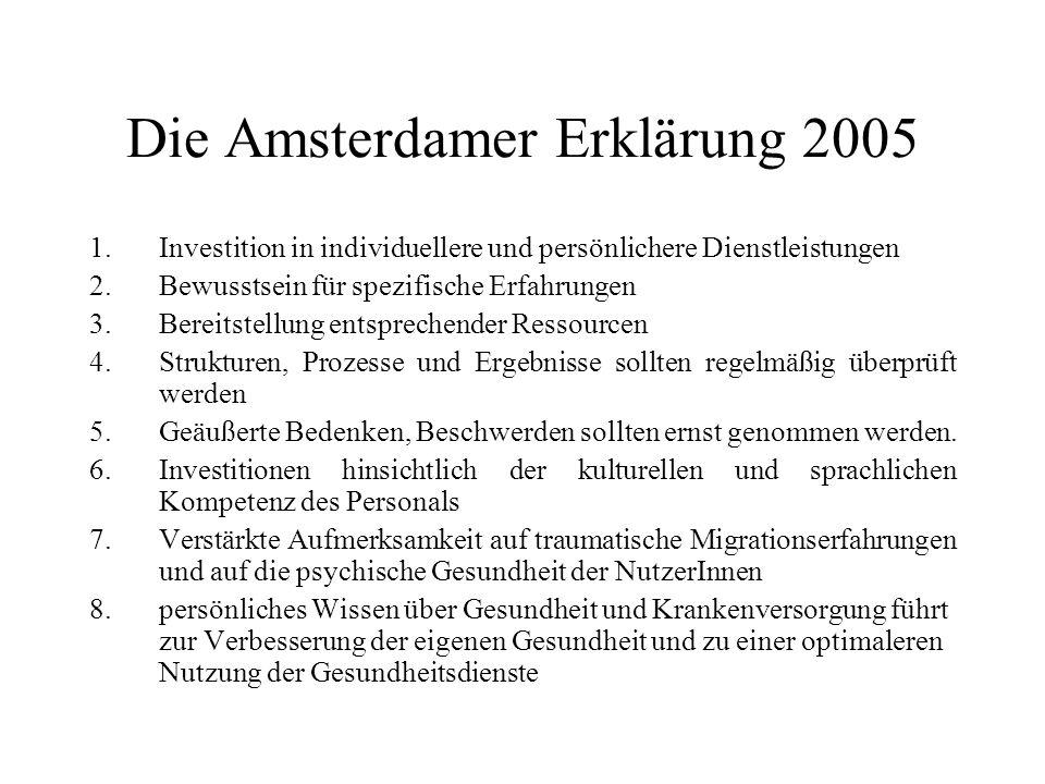 Die Amsterdamer Erklärung 2005 1.Investition in individuellere und persönlichere Dienstleistungen 2.Bewusstsein für spezifische Erfahrungen 3.Bereitstellung entsprechender Ressourcen 4.Strukturen, Prozesse und Ergebnisse sollten regelmäßig überprüft werden 5.Geäußerte Bedenken, Beschwerden sollten ernst genommen werden.
