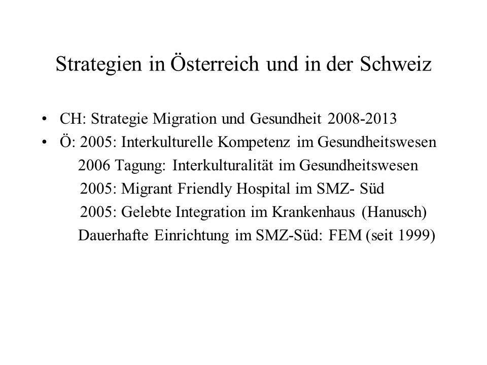 Strategien in Österreich und in der Schweiz CH: Strategie Migration und Gesundheit 2008-2013 Ö: 2005: Interkulturelle Kompetenz im Gesundheitswesen 20