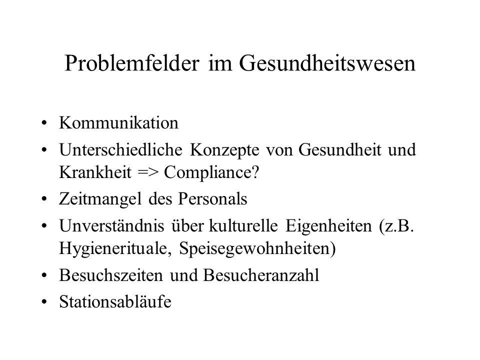 Problemfelder im Gesundheitswesen Kommunikation Unterschiedliche Konzepte von Gesundheit und Krankheit => Compliance.