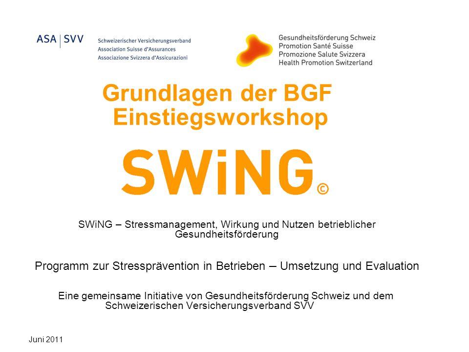 Grundlagen der BGF Einstiegsworkshop SWiNG – Stressmanagement, Wirkung und Nutzen betrieblicher Gesundheitsförderung Programm zur Stressprävention in Betrieben – Umsetzung und Evaluation Eine gemeinsame Initiative von Gesundheitsförderung Schweiz und dem Schweizerischen Versicherungsverband SVV Juni 2011