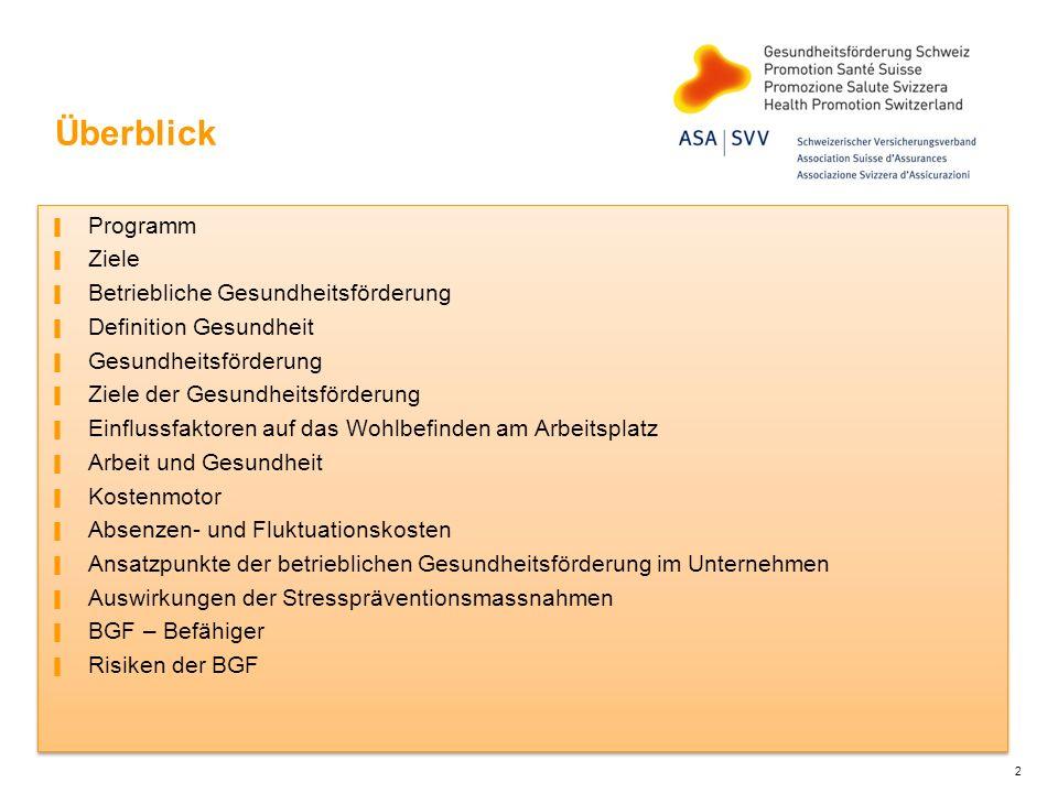 Ansatzpunkte der betrieblichen Gesundheitsförderung im Unternehmen (Quelle: BGM Zürich, Online-Publikation) Betriebliches Gesundheitsmanagement Unfälle verhüten Verringerung von Unfällen bei der Arbeit und im Privatbereich Krankheiten am Arbeitsplatz vorbeugen Prävention von Erkrankungen, die im Zusammenhang mit der Arbeit stehen - Physisch - Sozial - Psychisch Absenzenmanagement Leistungsmanagement Gesundheit fördern Entwicklung von Kompe- tenzen für gesundheits- förderndes Verhalten durch die Vermittlung von: -Wissen -Einstellungen Gesundheitsfördernde Gestaltung von Arbeit und Organisation 13