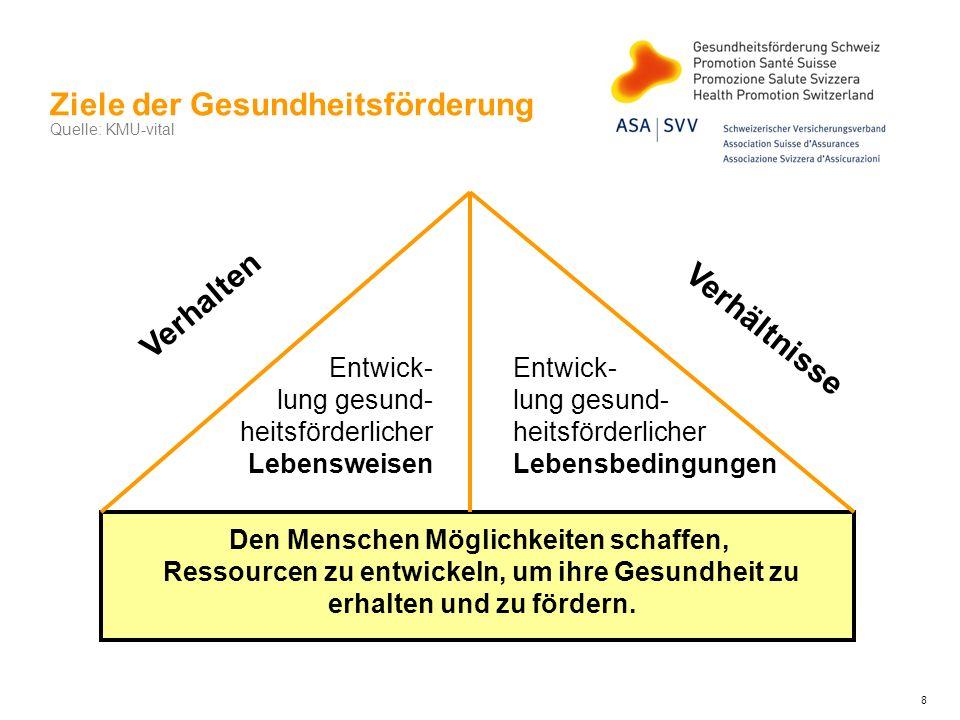 Einflussfaktoren auf das Wohlbefinden am Arbeitsplatz Quelle: KMU-Vital BelastungenRessourcen Arbeitsinhalt Arbeits- umgebung Organisationale Rahmenbedin- gungen Soziale Bedingungen Finanzielle Bedingungen 9