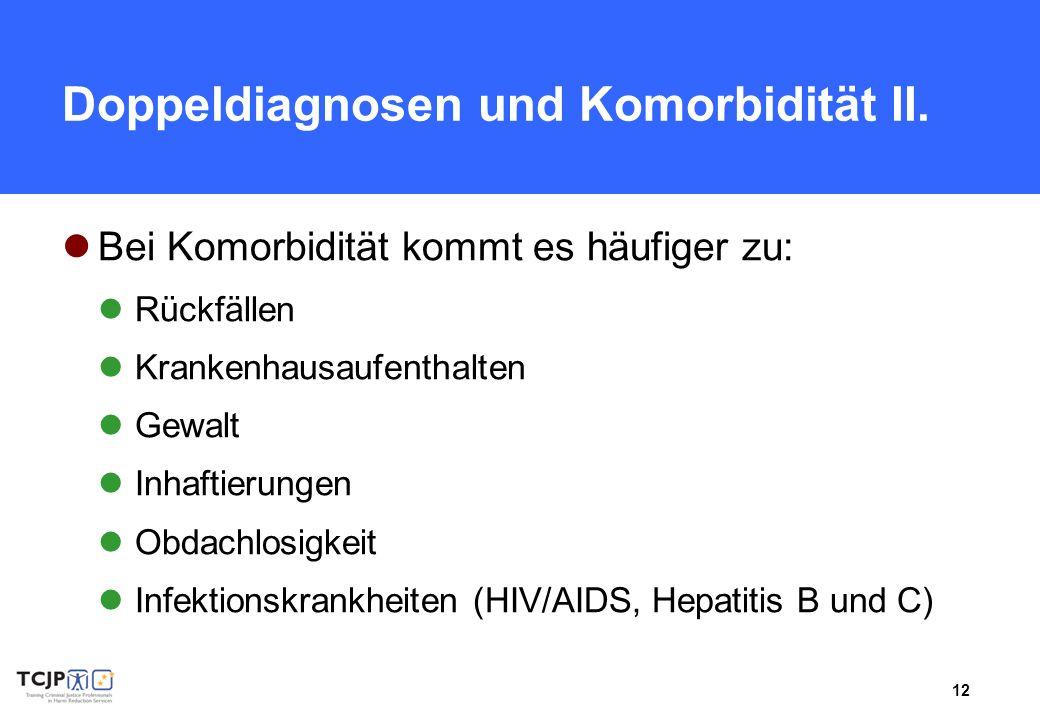 12 Doppeldiagnosen und Komorbidität II. Bei Komorbidität kommt es häufiger zu: Rückfällen Krankenhausaufenthalten Gewalt Inhaftierungen Obdachlosigkei