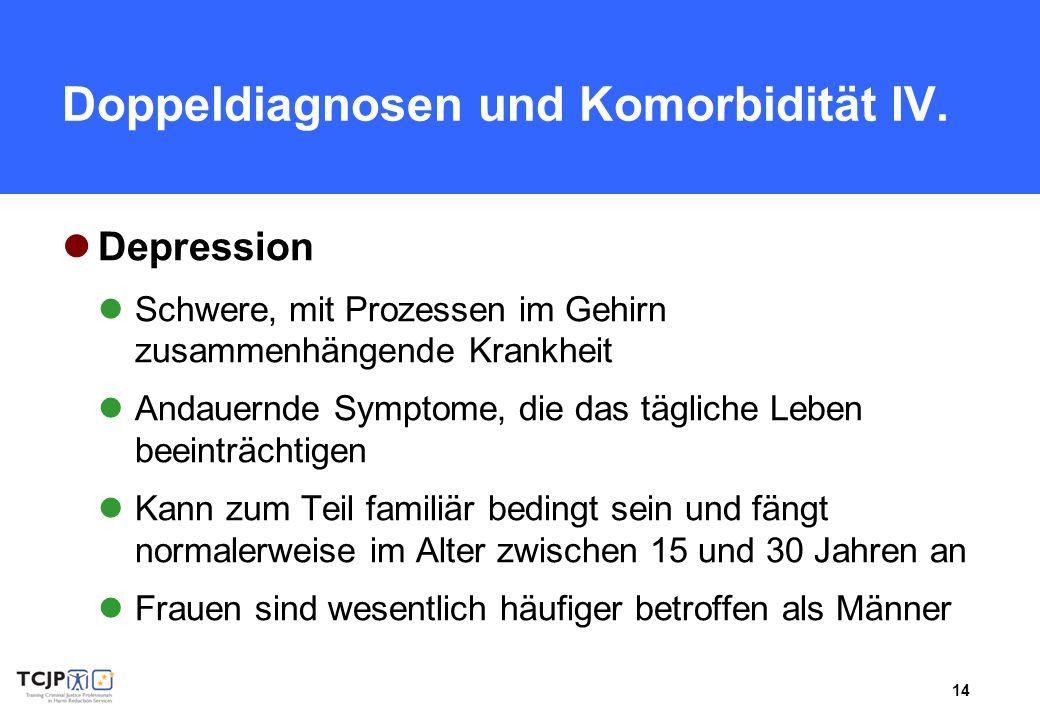 14 Doppeldiagnosen und Komorbidität IV. Depression Schwere, mit Prozessen im Gehirn zusammenhängende Krankheit Andauernde Symptome, die das tägliche L