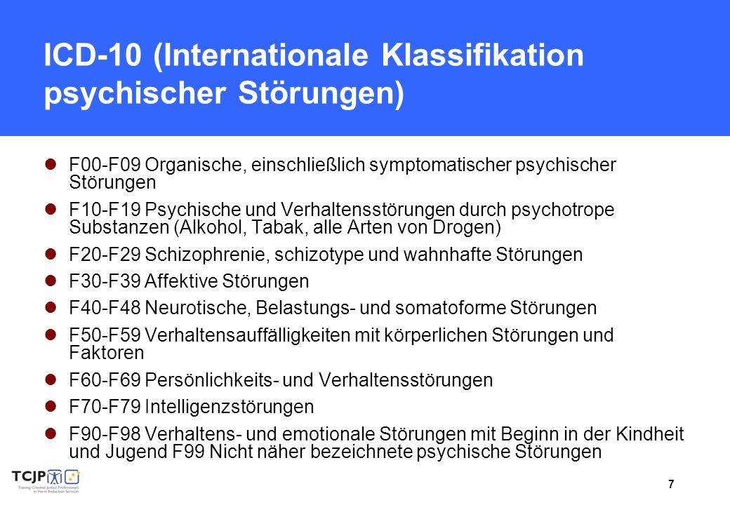 7 ICD-10 (Internationale Klassifikation psychischer Störungen) F00-F09 Organische, einschließlich symptomatischer psychischer Störungen F10-F19 Psychi