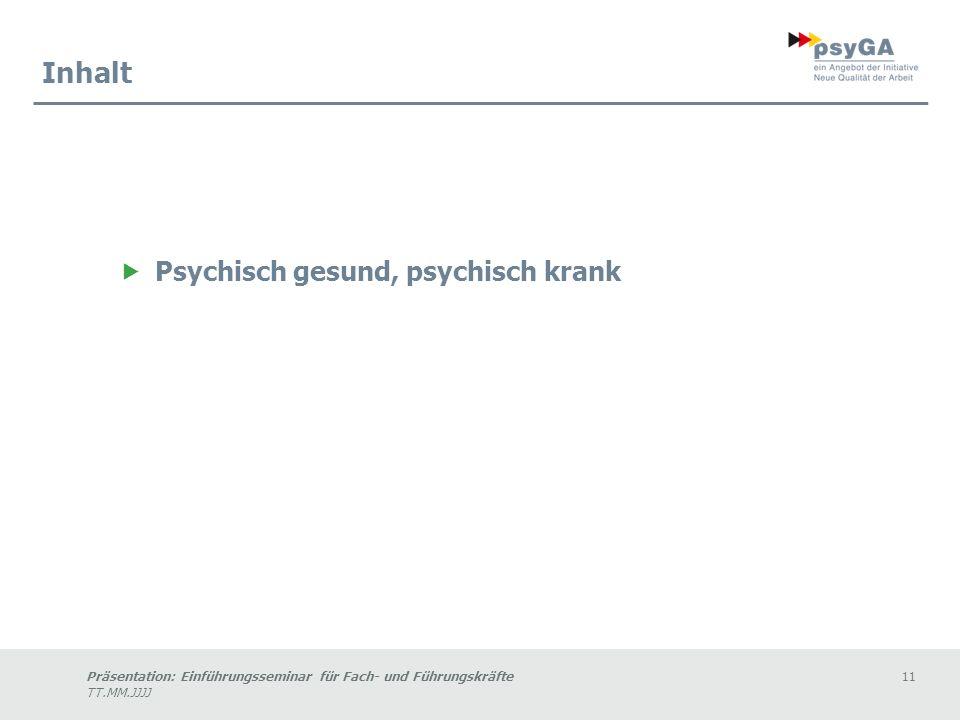Präsentation: Einführungsseminar für Fach- und Führungskräfte11 TT.MM.JJJJ Inhalt Psychisch gesund, psychisch krank