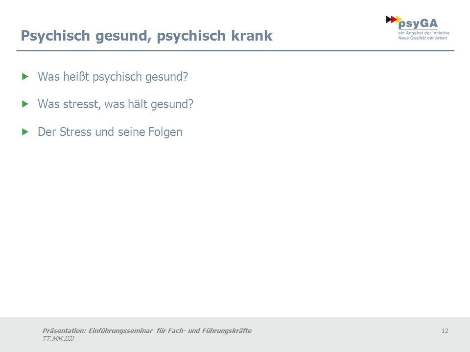 Präsentation: Einführungsseminar für Fach- und Führungskräfte12 TT.MM.JJJJ Psychisch gesund, psychisch krank Was heißt psychisch gesund.