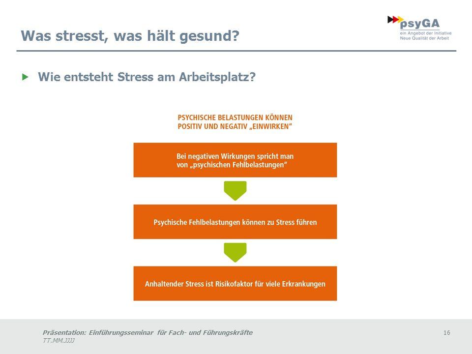 Präsentation: Einführungsseminar für Fach- und Führungskräfte16 TT.MM.JJJJ Was stresst, was hält gesund.