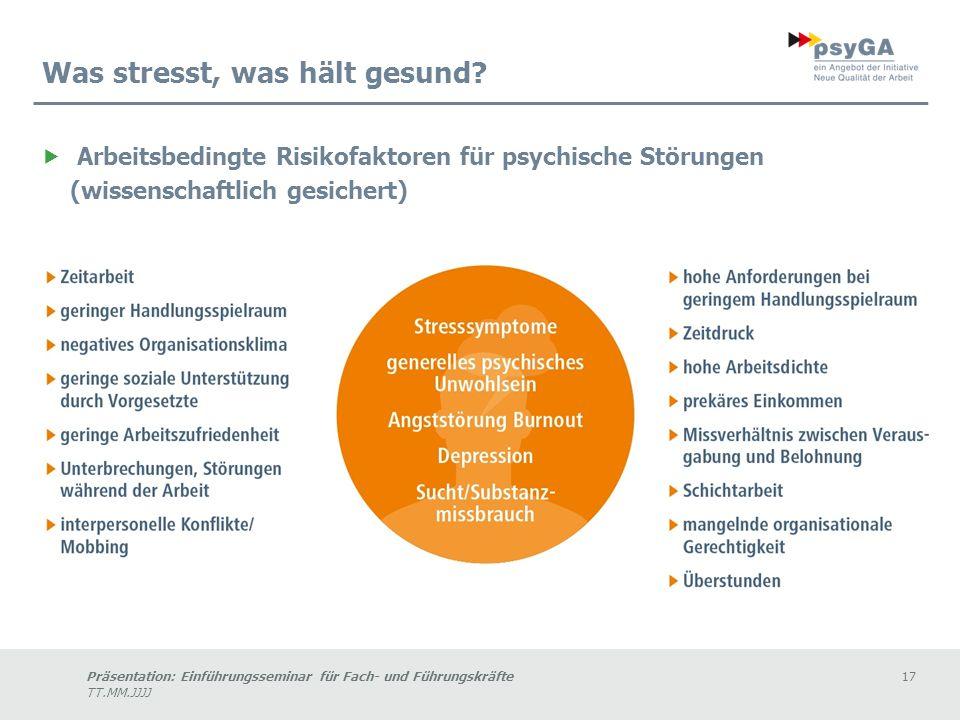 Präsentation: Einführungsseminar für Fach- und Führungskräfte17 TT.MM.JJJJ Was stresst, was hält gesund.