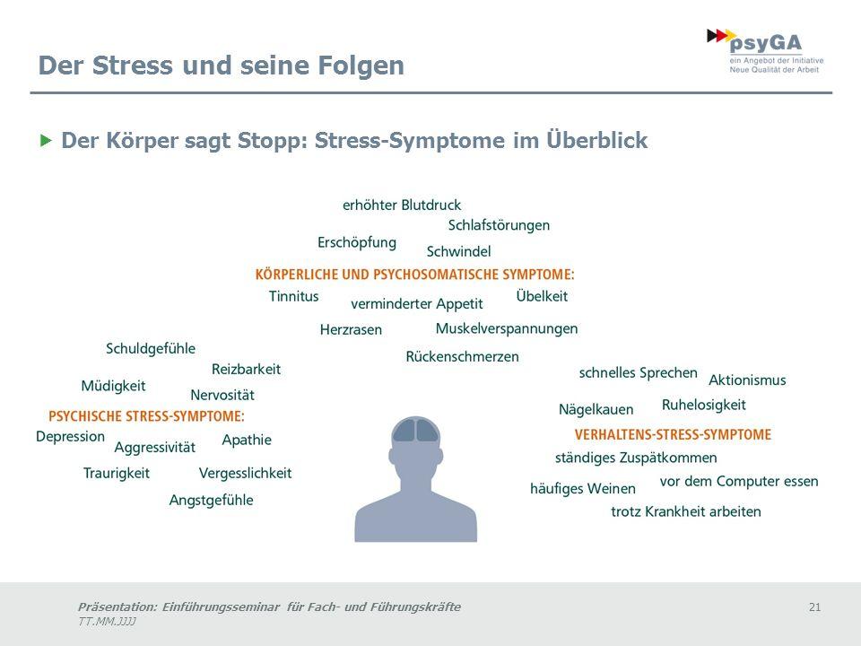 Präsentation: Einführungsseminar für Fach- und Führungskräfte21 TT.MM.JJJJ Der Stress und seine Folgen Der Körper sagt Stopp: Stress-Symptome im Überblick