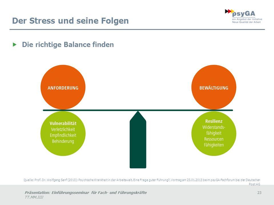 Präsentation: Einführungsseminar für Fach- und Führungskräfte23 TT.MM.JJJJ Der Stress und seine Folgen Die richtige Balance finden Quelle: Prof.