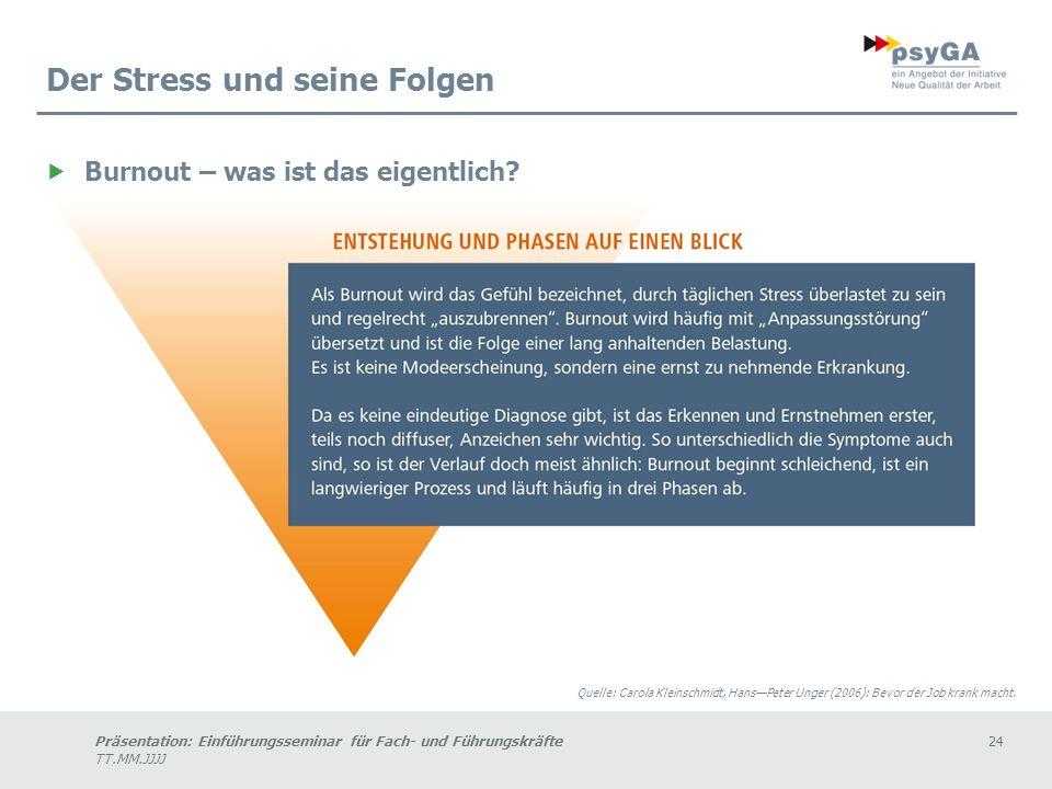 Präsentation: Einführungsseminar für Fach- und Führungskräfte24 TT.MM.JJJJ Der Stress und seine Folgen Burnout – was ist das eigentlich.