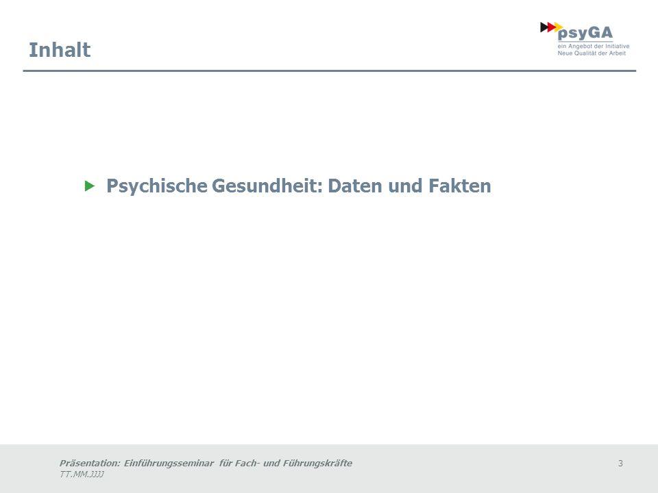 Präsentation: Einführungsseminar für Fach- und Führungskräfte3 TT.MM.JJJJ Inhalt Psychische Gesundheit: Daten und Fakten