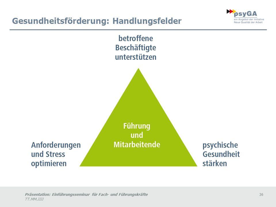 Präsentation: Einführungsseminar für Fach- und Führungskräfte36 TT.MM.JJJJ Gesundheitsförderung: Handlungsfelder