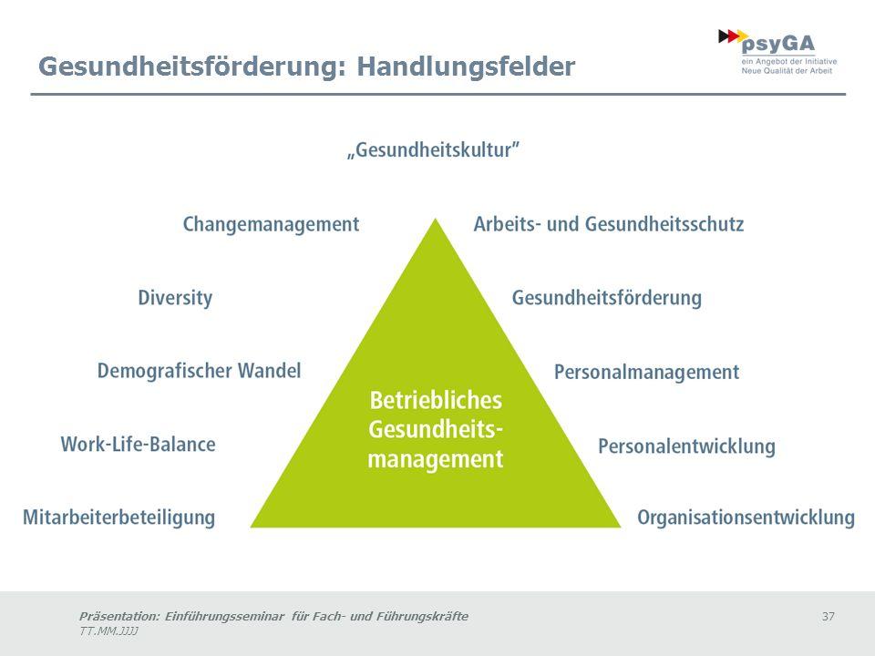 Präsentation: Einführungsseminar für Fach- und Führungskräfte37 TT.MM.JJJJ Gesundheitsförderung: Handlungsfelder