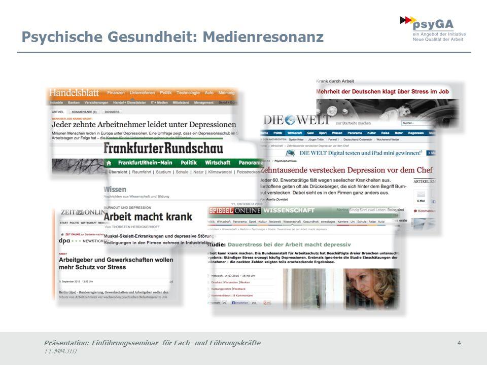 Präsentation: Einführungsseminar für Fach- und Führungskräfte4 TT.MM.JJJJ Psychische Gesundheit: Medienresonanz