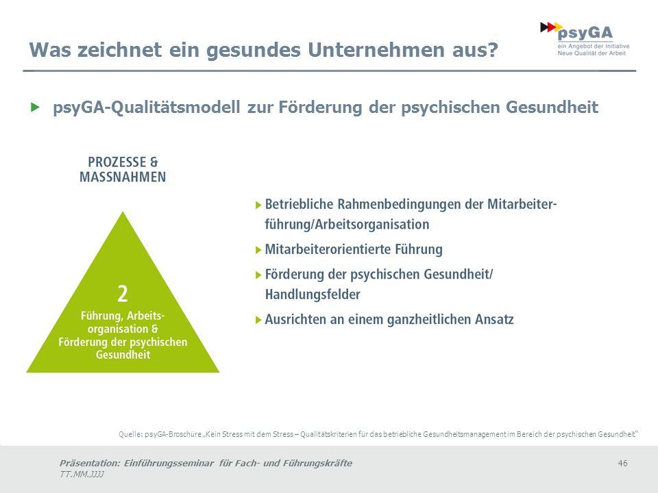 Präsentation: Einführungsseminar für Fach- und Führungskräfte46 TT.MM.JJJJ Was zeichnet ein gesundes Unternehmen aus.