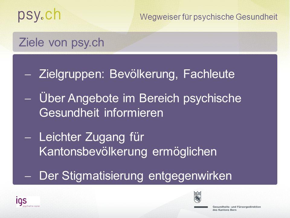 Wegweiser für psychische Gesundheit Strukturiertes Online-Verzeichnis Angebote zur Versorgung, Selbsthilfe, Prävention und Gesundheitsförderung, Informationen zu Gesundheit und Krankheit Von igs betrieben Was ist psy.ch?