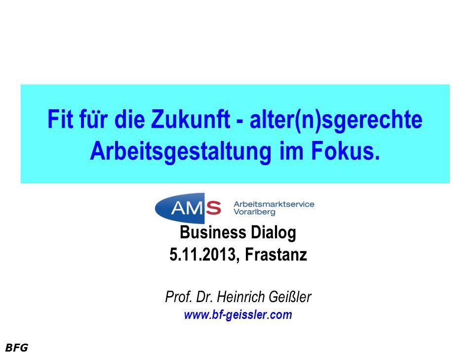 BFG Fit fu ̈ r die Zukunft - alter(n)sgerechte Arbeitsgestaltung im Fokus. Business Dialog 5.11.2013, Frastanz Prof. Dr. Heinrich Geißler www.bf-geiss