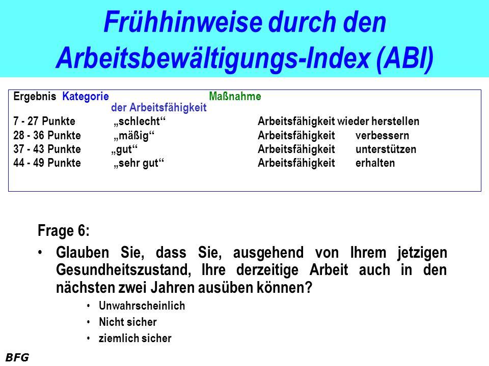 BFG Frühhinweise durch den Arbeitsbewältigungs-Index (ABI) Frage 6: Glauben Sie, dass Sie, ausgehend von Ihrem jetzigen Gesundheitszustand, Ihre derze